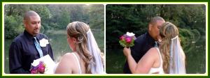 La novia leyendo un lindo escrito con sus promesas y el nvio colocando el anillo.