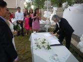 La firma de la licencia matrimonial